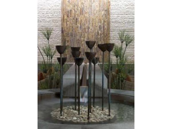 Bronze Spritzzing Flowers w/ Waterwall and Stream