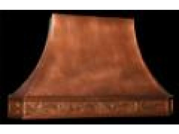 French Country Copper Range Hood w/ Repousee Band