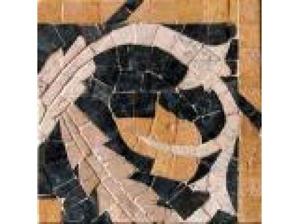 Stone Mosaics-4.5x4.5 Twisting Ivy Corner