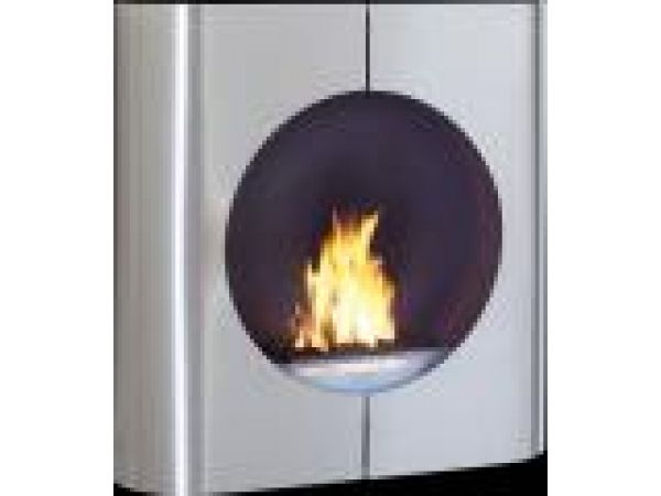 Euro-Chimo Stainless Steel No-VentEthanol Fireplace with Round Face
