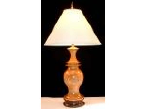 Quilted Pedestal Wood Table Lamp