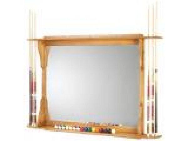 Cue & Ball Back Bar with Mirror Closeup