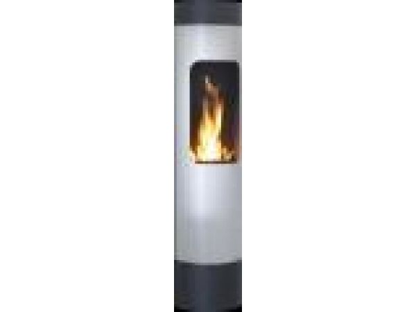 Euro-Chimo Stainless Steel No-VentEthanol Fireplace Wall Mount Cylinder