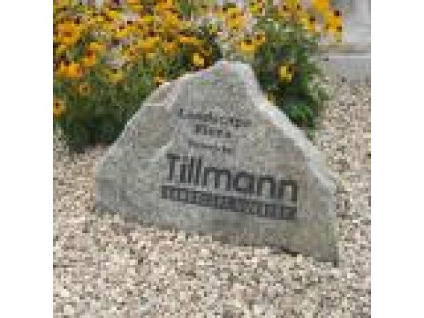 ENG-SND003, Tillmann Landscaping Custom Sandblast Logo