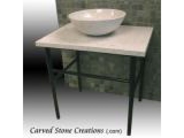 VT-120, ''Zen'' Vanity Top & Stand with Granite Vessel Sink