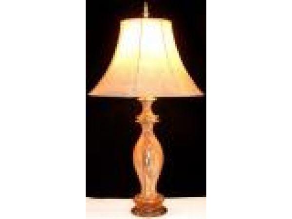 Spalted Pedestal Wood Table Lamp