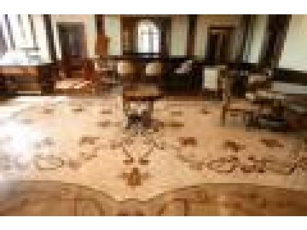 Custom library wood floor inlay