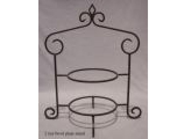 Wrought Iron 2-Tier Plate/Bowl Stand