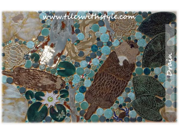 Otter mosaic tile shower floor