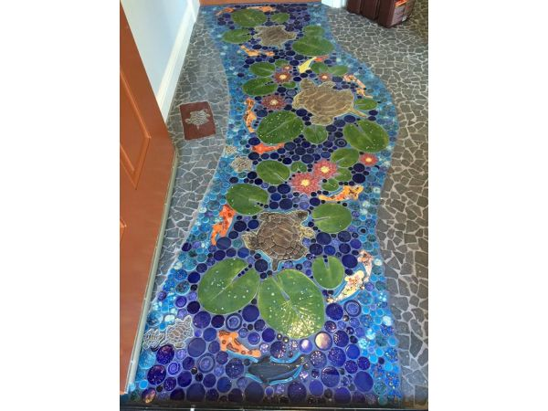 Turtle stream; handmade mosaic tile floor