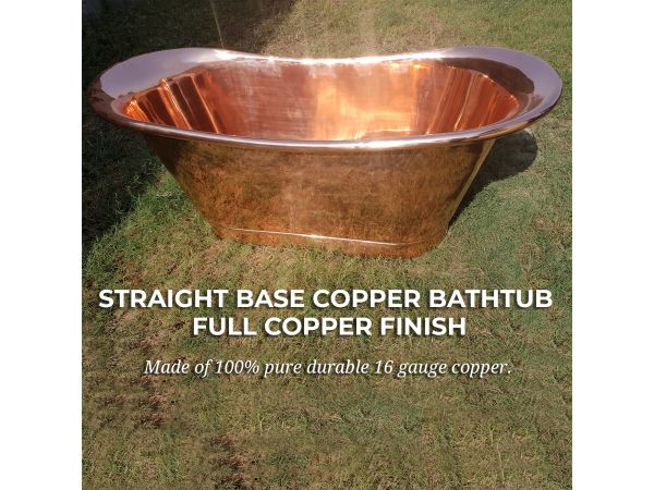 Straight Base Copper Bathtub Full Copper Finish