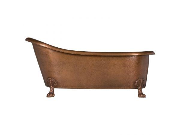 Hammered Copper Clawfoot Slipper Bathtub