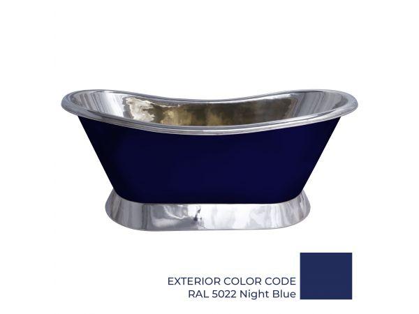 Slanting Base Copper Bathtub Nickel Inside & on Base RAL5022 Night Blue Outside