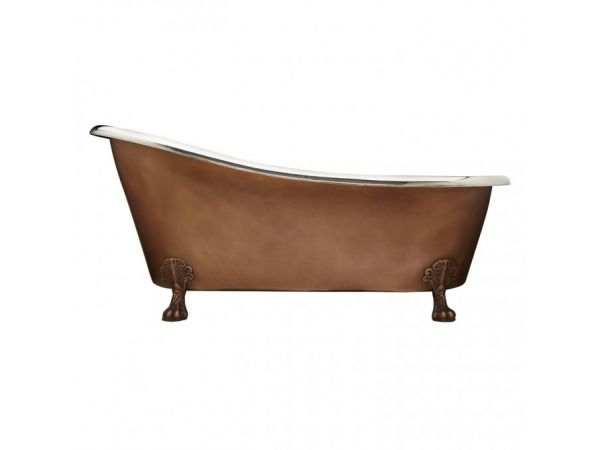Smooth Copper Nickel Clawfoot Tub
