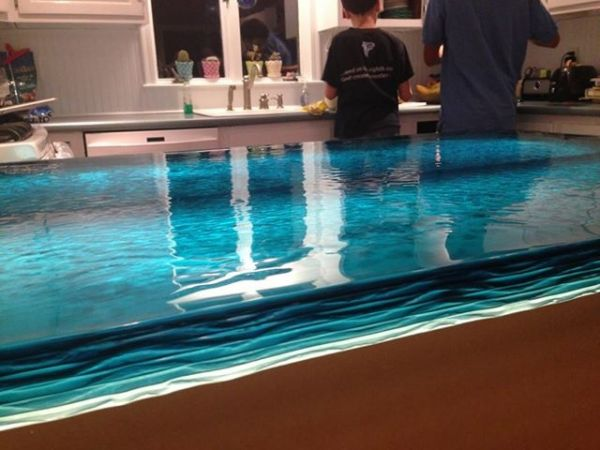 Blue wave glass counter top
