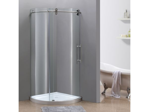 Aston Orbitus Completely Frameless Round Sliding Shower Enclosure