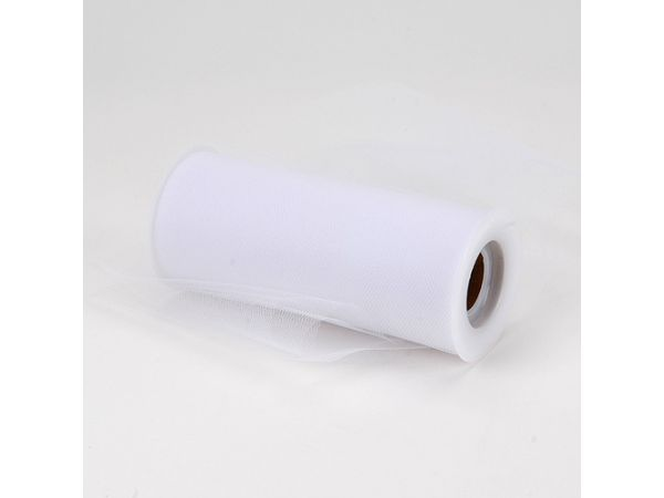 6 inch White Premium Polyester Tulle Fabric
