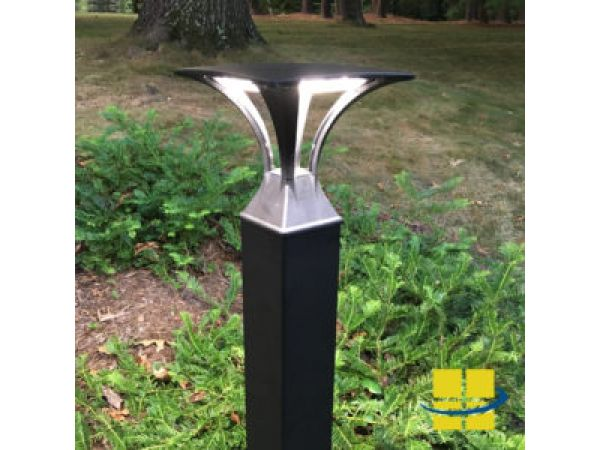ATRI 21w Square Bollard Light 120-277v: Open Top, 5″ Base, IP67