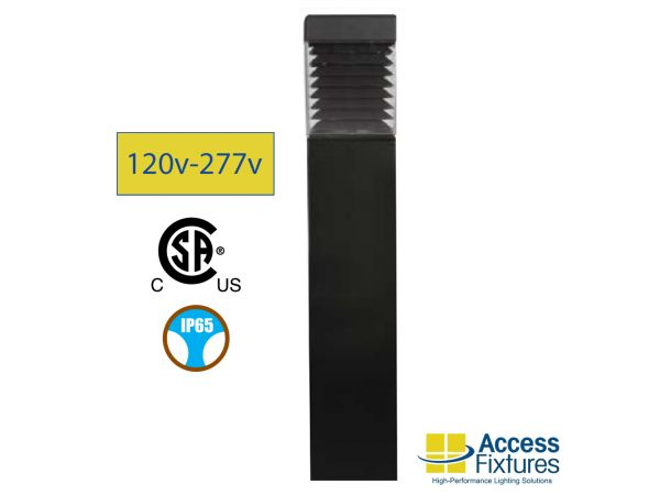 17w Turtle & Wildlife Friendly Square Bollard, Louvers 120-277v