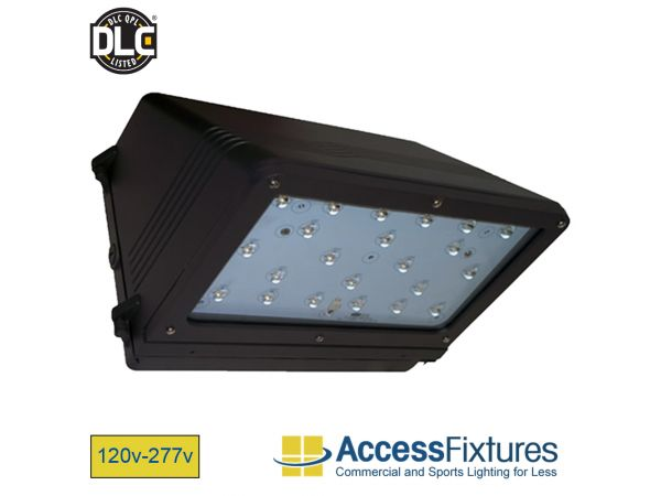 HEZE 43w LED Wall Pack 120-277v, 100w HID EQV, L70@213K Hrs EXTREME LIFE