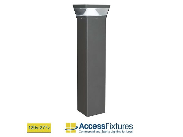 OPPE 26w Square LED Bollard Light with Reflector – Dimmable LED Bollard Light – IP67, CSA Rated, Aluminum Housing