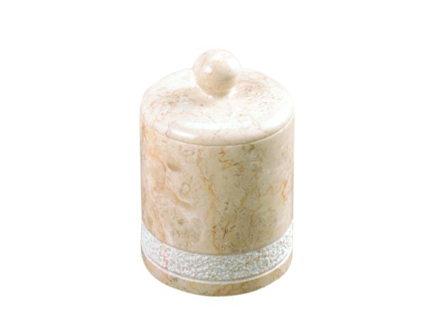 Creative Home Spa Hand Carved Champagne Marble Cotton Ball Holder