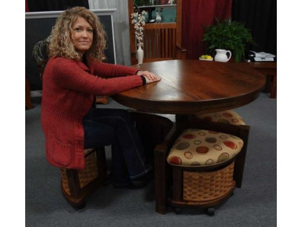 Amish Mission Round Coffee Table and Stool Set with Hydraulic Lift