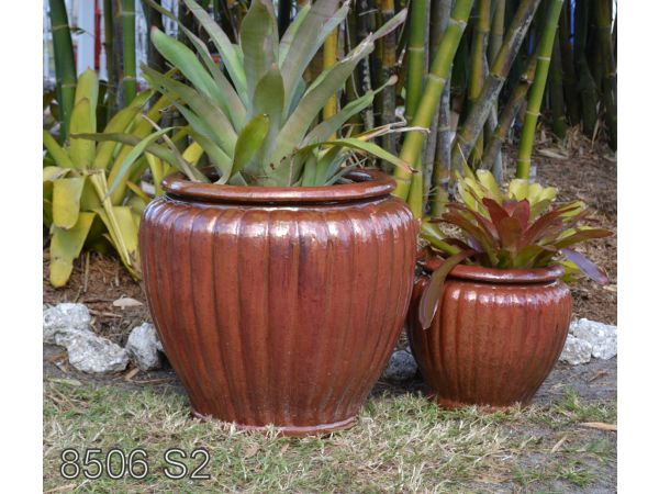 8506 - Set of 2 - 27D x 26H - Pumpkin Pots