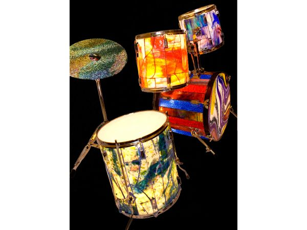 Stained Glass Illuminated Five Piece Drum Set