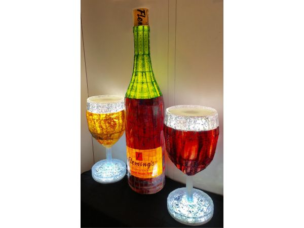 Stained Glass Illuminated Wine Bottle (4Ft Tall) and Two Wine Glasses (2Ft Tall)