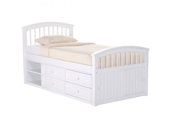Captain\'s Bed in White Finish
