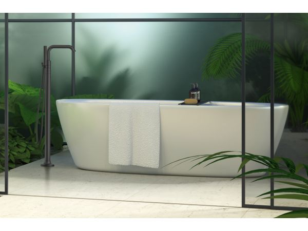 Tenet 2-Handle Tub Filler With Hand Shower in Matte Black