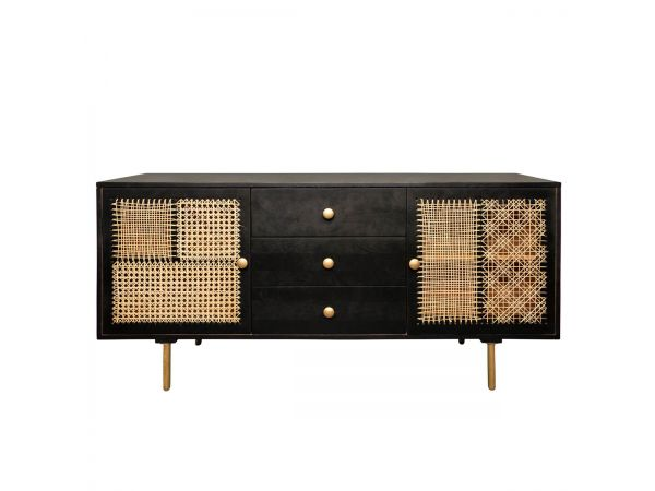 Wood Cane Patchwork Sideboard/Console