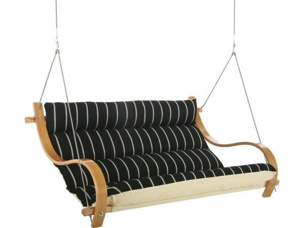 Classic Black Stripe Deluxe Cushioned Double Swing