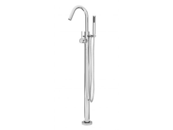 Modern Single Hole Free Standing Tub Filler with Hand Shower