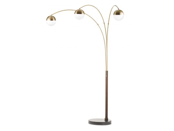 Globe Three Light Arc Lamp Weathered Brass