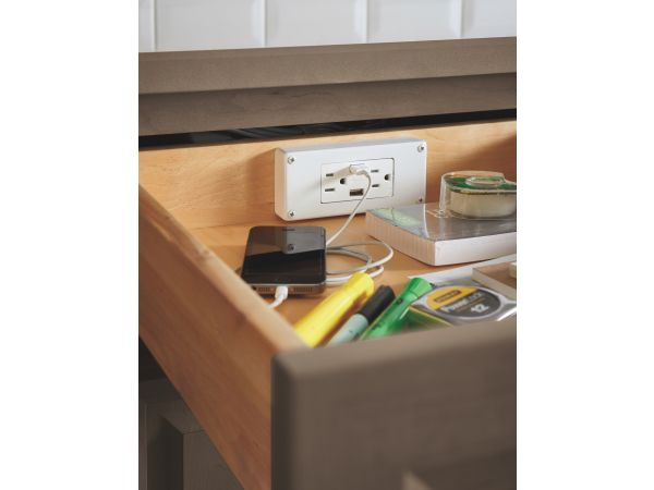 Power-in-the-Drawer Feature by Omega Cabinetry