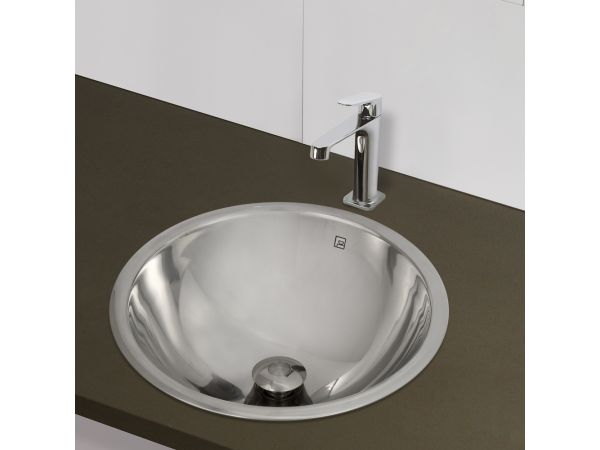 1220 Double Walled Stainless Steel Round Drop-in or Undermount Lavatory with Overflow