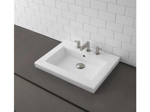 1419-CWH Rectangular Semi-Recessed Bathroom Sink