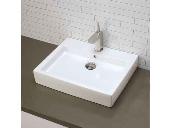 1444-CWH Above-Counter White Rectangular Lavatory