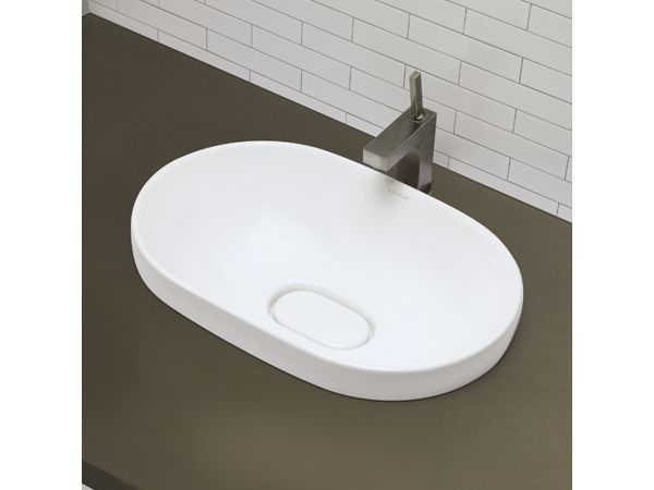 1457 Semi-Recessed Oval Lavatory White with Vitreous China Drain Cover