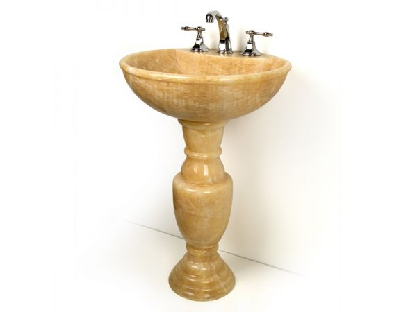 Baluster Honey Onyx Pedestal Sink