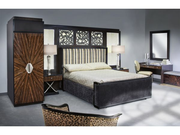 Art deco inspired king bed guestroom