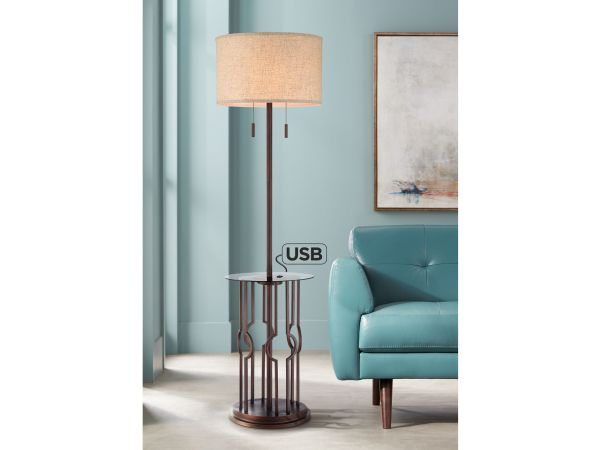 Legend Open Cage Tray Table Floor Lamp with USB