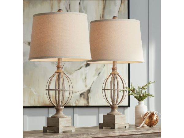 Sloan Wood Finish Open Orb Cage Table Lamps Set of 2