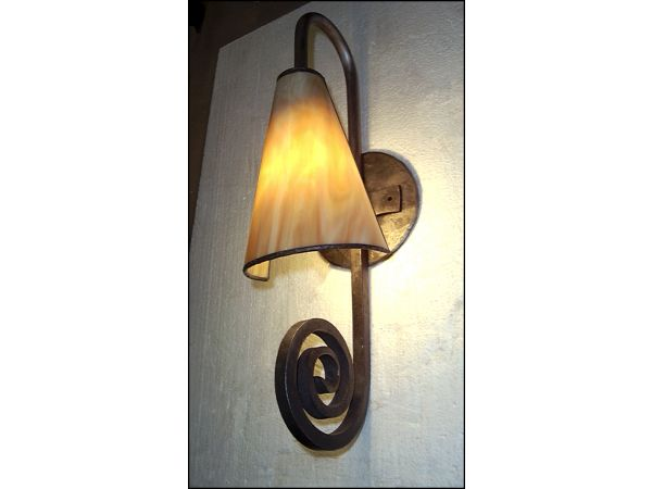 COLWS Glass and Iron Wall Sconce