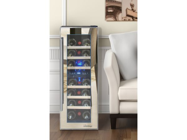 NEW: Vinotemp 21-Bottle Dual-Zone Thermoelectric Mirrored Wine Cooler