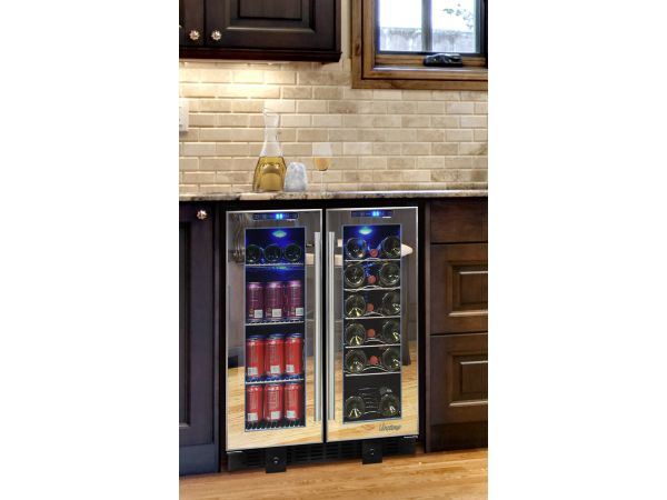 NEW: Vinotemp 36-Bottle Touch Screen Mirrored Wine & Beverage Cooler