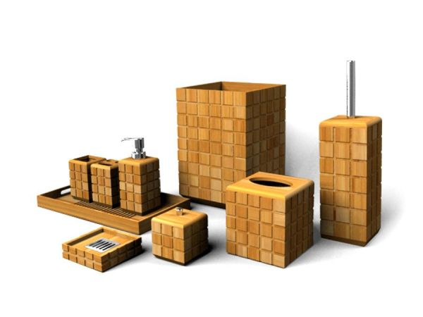 Bamboo Bath Set - Puzzle Design