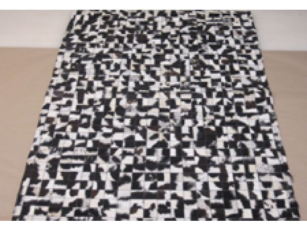 Patchwork Rug 13 Black and White